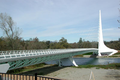 Calatrava Sundial Bridge at Turtle Bay.  PHI was retained to prepare the Design Hydraulic Study for this bridge along with FEMA applications for a Conditional Letter of Map Revision (CLOMR) prior to bridge construction and a Letter of Map Revision (LOMR) after construction.
